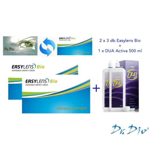Easylens Bio (2x3db) - szilikon-hidrogél kontaktlencse + 1 db 500 ml DUA Activa ápolószer