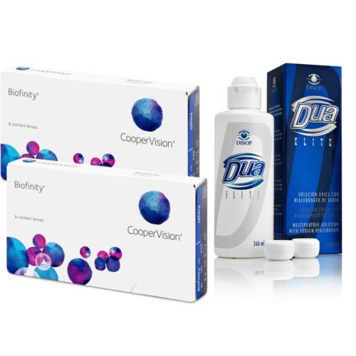 Biofinity (2x6db) + 1 db 360 ml DUA Elite ápolószer