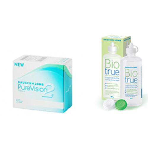 PureVision 2HD (6db) szilikon-hydrogél lencse + 1db Biotrue 300 ml ápolószer